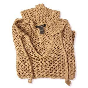 Abercrombie & Fitch crochet sweater camel tan M